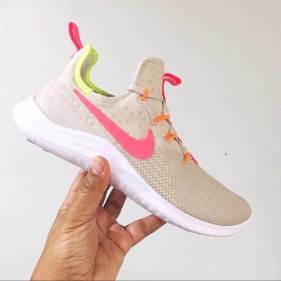 38b75141b316a Women s Nike Free TR 8 Desert Sand Hot Punch White